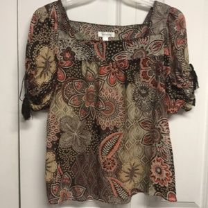Dress Barn Floral Blouse with Tassels
